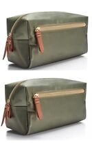2x Macy's army olive green nylon waterproof Dopp kit Bag case Toiletry Pouch set