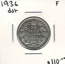 Canada 1936 Dot Silver 25 Cents F