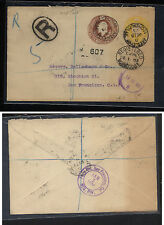 Great Britain double embossed postal registered envelope 1903 to Us Kl0608