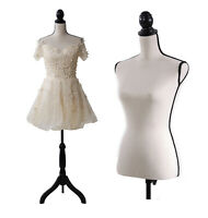 Lady Mannequin Torso Dress Form Adjustable Black Tripod Stand Shelf Style
