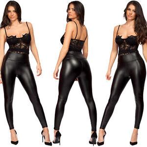 Womens Ladies PVC Wet Leather Look High Waist PU Leggings Stretch Trousers Pants