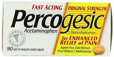 Percogesic Fast Acting Pain Reliever Tablets, 325mg, 90 ct coated tabs