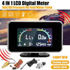 4 in1 LCD Car Digital ALARM Gauge Voltmeter Oil Pressure Fuel Water Temp  E