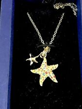 NIB SWAROVSKI SILVER RHODIUM CHAIN NECKLACE MULTICOLOR RHINESTONE STAR PENDANT