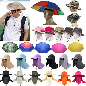 UV Protection Ear-Flap-Neck Cover Sun Hat Outdoor Fishing Hunting Hiking Caps UK