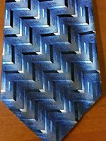 Pierre Cardin Silk Tie Blue and Black Zigzag Design Made in the USA NWOT