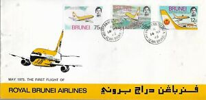 ROYAL BRUNEI AIRLINES MAY 1975 FIRST FLIGHT WITH THREE STAMPS  MY REF 364