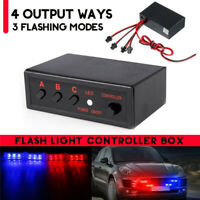 LED Strobe Flash Light Flasher 3 Flashing Modes Controller Box 4 Ways 12V