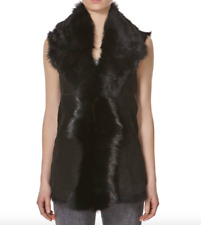 Ladies Black UK Made Waterfall Shearling Waistcoat Sleeveless Body warmer Gilet