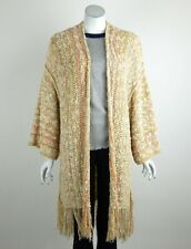 Free People Lucia Cardigan Sweater Knit Open Front Marled Fringe Trim XS/S New