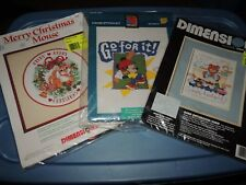 LOT OF 3 CROSS STITCH KITS DIMENSIONS CHRISTMAS MOUSE  BEAR SIGN DISNEY MICKEY