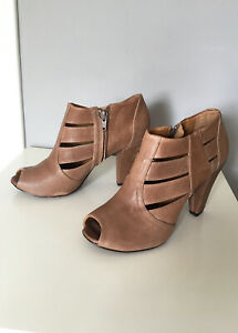 New Anthropologie Coclico leather booties shooties 36 brown peep toe RRP $450