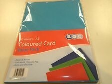 1 PACK OF 40 A5 COLOURED CARD 4  COLOURS RED BLUE YELLOW GREEN IN THE PACK
