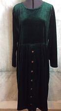 Altered Amanda Stewart Velour Dress Size XL Dark Green Long Velvet Modest L/S