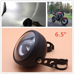 Modified Motorcycle Cafe Racer Bobber LED Headlight White Light Mount Bracket
