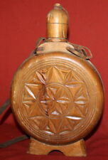 Vintage Folk Wine Brandy Glass Pitcher Jug With Carving Wood Cover