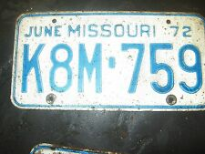 1972 JUNE K8M- 759 Missouri License Plate only one/ BLUE AND WHITE
