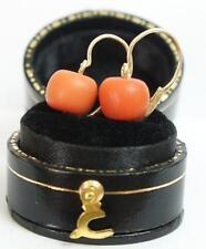 Antike Ohrringe aus 585/000 Gelbgold mit Lachs Korallen   A2002