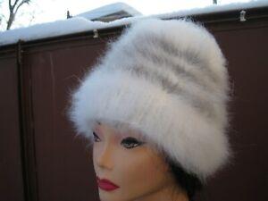 HAT BEANIE SHAPKA 100% ANGORA RABBIT BUNNY longhair handknitted Russian fuzzy