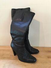 NEWPORT NEWS Women's Sz 8M Black Leather Tall High Heel Knee High Boots