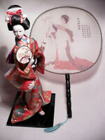 VINTAGE JAPANESE GEISHA DOLL & FULL SIZE FAN.