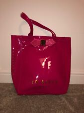 Ted Baker Hot Pink Sequin Bow Large Plastic Tote Shopping Bag - New Without Tags
