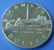 Canada 1 dollar 1984  Toronto 150 years 1834-1984 Silver PR/XF-UNC.