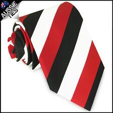 MENS RED, BLACK & WHITE STRIPE SPORT TIE stripes striped necktie