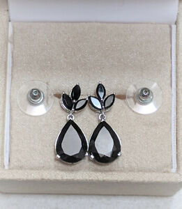 Black Spinel (Pear) Earrings in Platinum Overlay Sterling Silver 14.75 CTS