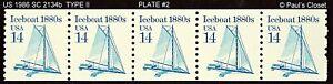 US 1986 PNC #2 SC 2134b TYPE II ICEBOAT COIL STP OF 5 14¢ MNH OG  VFINE C PHOTO