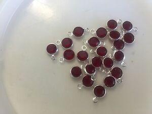 Vintage Silver Plate Red Swar Crystal Faceted Round Bezel Links & Connectors Lot