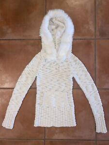 Women's Bebe White Fur Hooded Knit Sweater Sz XS