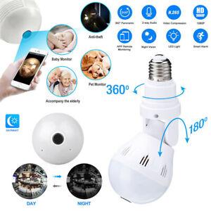 Wifi Camera Light Bulb E27 360° Panoramic Hidden HD 1080P Security IP Fisheye US