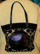 Coach Laura Jacquard Signature Tote Bag Beige & Black Patent Leather F18335