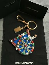 DOLCE & GABBANA BLUE LEATHER CART WHEEL KEYRING / BAG CHARM MADE IN ITALY BNWT