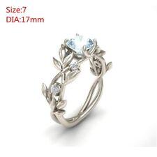 Women Aquamarine Leaf Floral Wedding Engagement Ring Party Gift Jewelry Sz6-10 7