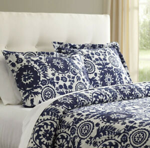 Boho Floral Navy Blue and White King Duvet Cover, 100% cotton, Machine Washable