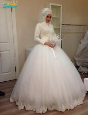 New Muslim Wedding Dresses  White Luxury High Neck Long Sleeve Wedding Gown