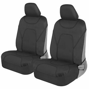 2 Piece Front Car Seat Covers 100% Waterproof Polyester Neoprene Black