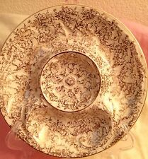 Vintage Atlas China Warranted 22 Karat Gold Lovely Divided Platter Dish