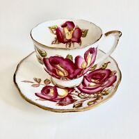 Vintage Queen Anne Windsor Rose Tea Cup Saucer Set- England Fine Bone China Rare
