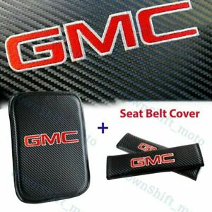 New Embroidery For GMC Center Armrest Cushion Mat Pad w/ Seat Belt Cover Set