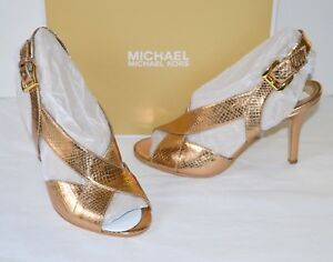 New $120 Michael Kors Becky Sandal Metallic Embossed Antique Gold Leather Snake