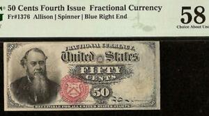 50 CENT FRACTIONAL CURRENCY STANTON NOTE OLD PAPER MONEY Fr 1376 PMG 58