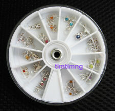 24 pcs Metalic Dangle Set for Nail Art Tips Decoration Nail Rhinestone Charms