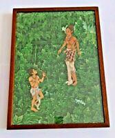 "Vintage Original Ubud Balinese Painting on Cloth Signed Supartha? 17"" by 23"""