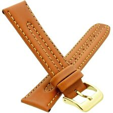20mm CONDOR Elite Padded Saddle Calf Genuine Leather Watch Strap Band in  Brown