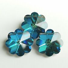 2 Vintage Swarovski 5110 14mm Bermuda Blue Margarita Crystal Beads