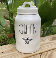 """New RAE DUNN LL QUEEN Bee 8.5"""" Canister With Removable Lid Spring 2020 HTF"""