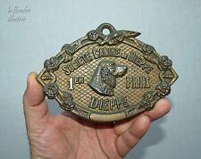 ancienne plaque de concours - société canine de dieppe en bronze - 1er prix